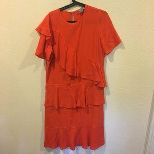 ASOS red ruffle short sleeve dress